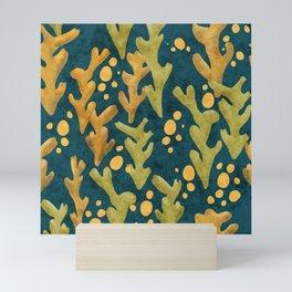 Coral Seaweed and Bubbles Under Sea Mini Art Print