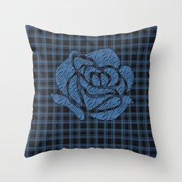 Blue patchwork , rose Throw Pillow