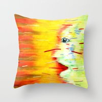 panic at the disco Throw Pillows featuring Panic by Lou Patrou