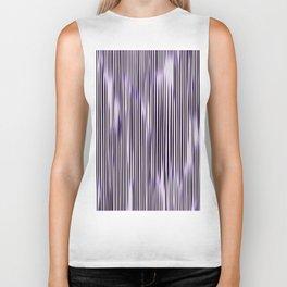 soft monochrome ikat stripe with purple accent Biker Tank