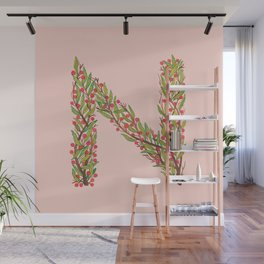 Leafy Letter N Wall Mural