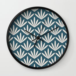 Retro Mid Century Modern Floral Leaves in teal and cream Wall Clock