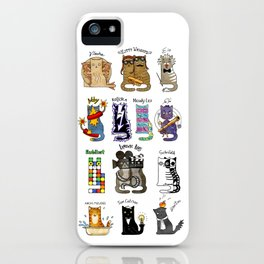 Science cats. History of great discoveries. Schrödinger cat, Tesla, Einstein. Physics, chemistry etc iPhone Case