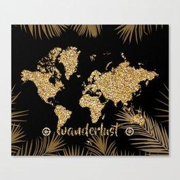 world map gold black Canvas Print