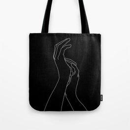 Hands line drawing illustration - Carly Black Tote Bag