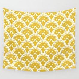 Fan Pattern Mustard Yellow 201 Wall Tapestry