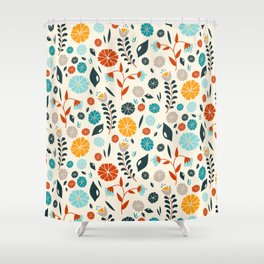 Colorful Spring Flowers Pattern Shower Curtain