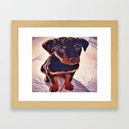 Rottweiler Puppy Born To Be Wild Framed Art Print