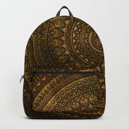 Lime Brown Boho Mandala || Manafold Art Backpack