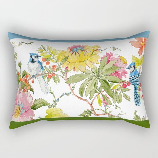 Bluejay Bird Day Floral Rectangular Pillow