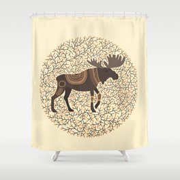 Scandinavian Folk Art Inspired Moose Shower Curtain