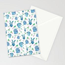 Blue Bunny Pattern Stationery Cards