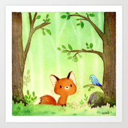 Little fox and bird Art Print
