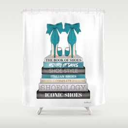 Books, Teal, Shoes, Fashion books, Fashion illustration, Fashion, Amanda Greenwood, watercolor, wall Shower Curtain