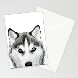 Siberian Husky dog with two eye color Dog illustration original painting print Stationery Cards