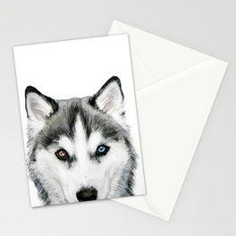 Siberian Husky dog with two eye color Dog illustration original painting print Stationery Cards