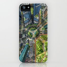 Manhattan in One Point Perspective iPhone Case
