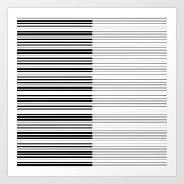 The Piano Black and White Keyboard with Horizontal Stripes Art Print