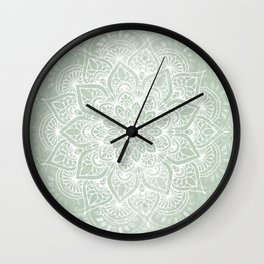 Mandala, Yoga Love, Sage Green, Boho Print Wall Clock
