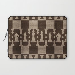 Chess Pieces Pattern - wooden texture Laptop Sleeve
