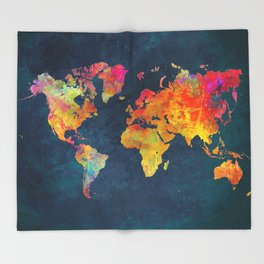 world map colors #map #maps #colors Throw Blanket