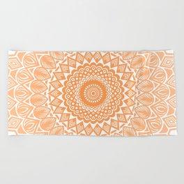 Orange Tangerine Mandala Detailed Textured Minimal Minimalistic Beach Towel