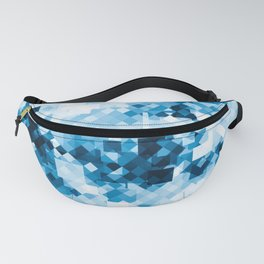 geometric square pixel pattern abstract background in blue Fanny Pack