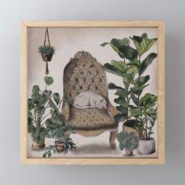 Sleepy Cat Framed Mini Art Print