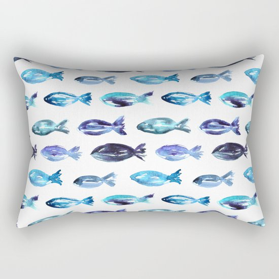 Sardines swimming to Sardegna Rectangular Pillow