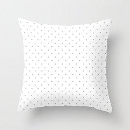 Small Silver on White Polka Dots | Throw Pillow