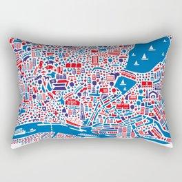 Hamburg City Map Poster Rectangular Pillow