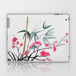 bamboo and red plum flowers Laptop & iPad Skin