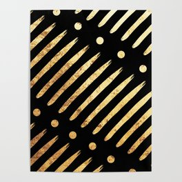 Dots & Dashes on Black Poster