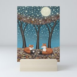 starlit foxes Mini Art Print