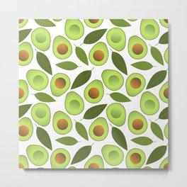 Avocado and Avocado Leaves pattern illustration Metal Print