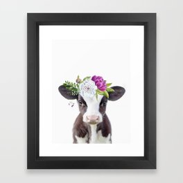 Baby Cow with Flower Crown Framed Art Print