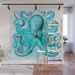Octopus in Turquoise Wall Mural