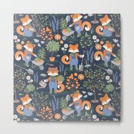 The foxy gardener // orange foxes Metal Print