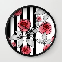 Red roses on black and white striped background. Wall Clock
