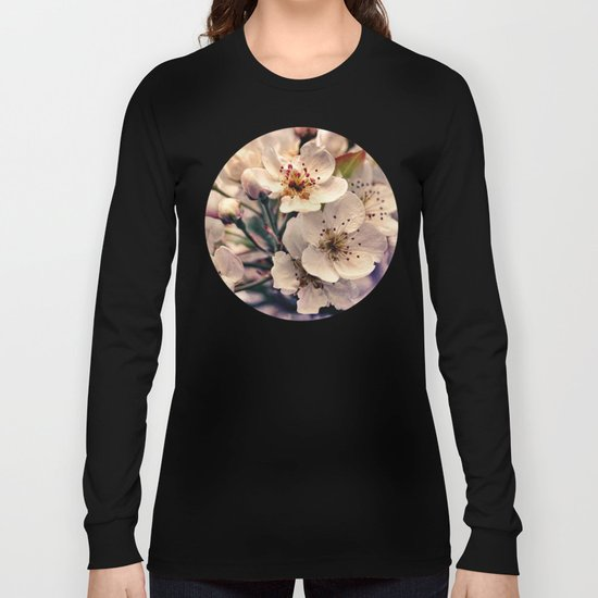 Blossoms at Dusk - vintage toned & textured macro photograph Long Sleeve T-shirt