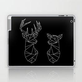 Geometric Stag and Doe (White on Black) Laptop & iPad Skin