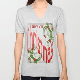 Merry Christmas With Stylized Holly With White Background  Unisex V-Neck