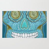 sugar skull Area & Throw Rugs featuring sugar skull by Ancello