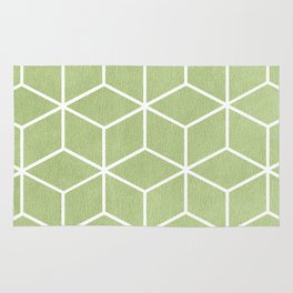 Lime Green and White - Geometric Textured Cube Design Rug