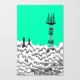 San Francisco - Sutro Tower (green sky) Canvas Print