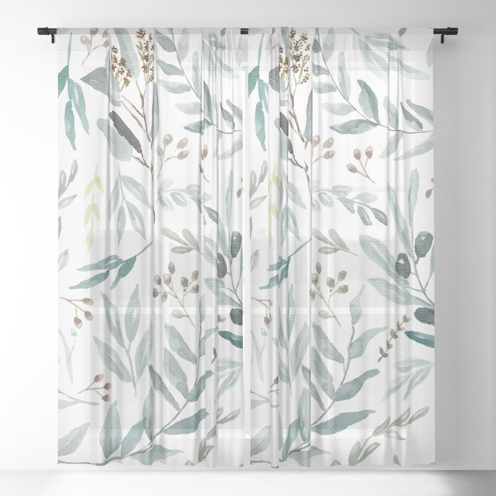 Eucalyptus pattern Sheer Curtain