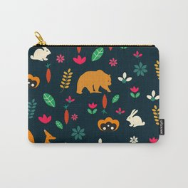 Cute little animals among flowers Carry-All Pouch