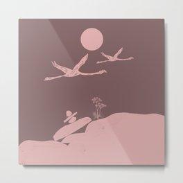 Earthy Flamingo Love Couple Metal Print