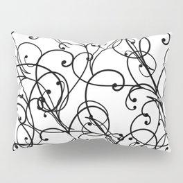 black thin pattern on white underground Pillow Sham