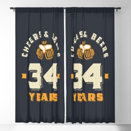 34th Birthday Cheers And Beers to 34 Years Funny Gift Blackout Curtain